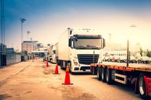 Trucks Waiting On Border