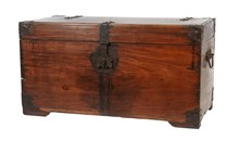 Closeup Shot Of A Wooden Vintage Trunk Isolated On A White Background