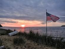 American Flag At Lakeside