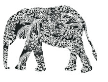 Asian Elephants Print Embroidery Graphic Design Vector Art