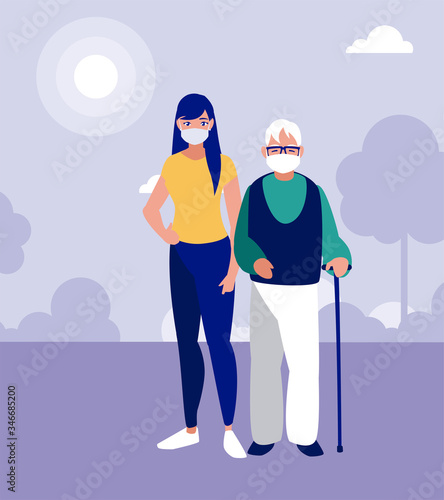 Woman and grandfather with masks at park vector design