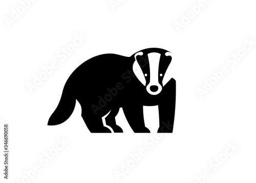 creative simple Badger logo vector illustration isolated on white background Canvas Print
