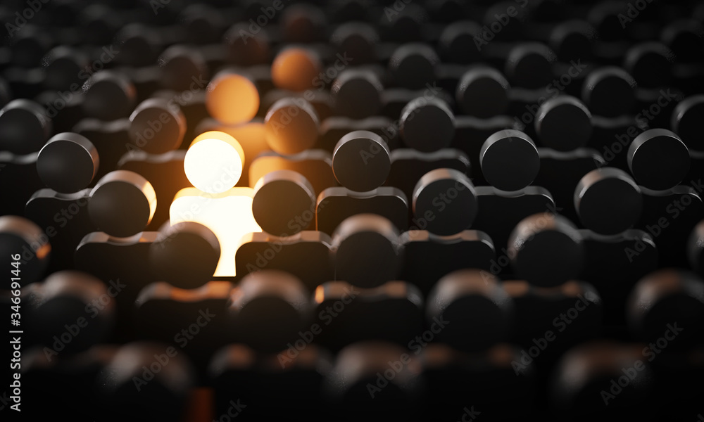 Fototapeta Be Standout 3D Concept, One Man Glowing Among Other People in Dark Condition