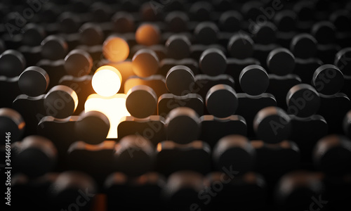 Fototapeta Be Standout 3D Concept, One Man Glowing Among Other People in Dark Condition obraz