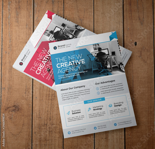 Fotografie, Obraz Corporate Business Flyer Template Design With Red And Blue Accents