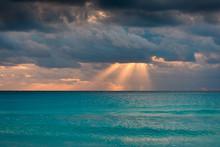 Dawn On The Caribbean Sea. Cancun Morning.