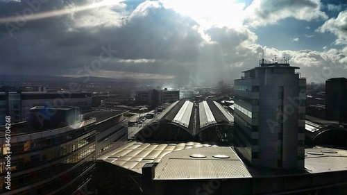 Idyllic View Of Cloudy Sky On Manchester Piccadilly Railway Station Canvas Print