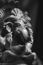 The Ganesha Statue In Black & White. Ganesha (also Known As Ganesa Or Ganapati) Is One Of The Most Important Gods In Hindu Mythology And He Is Also Worshipped In Jainism And Buddhism.