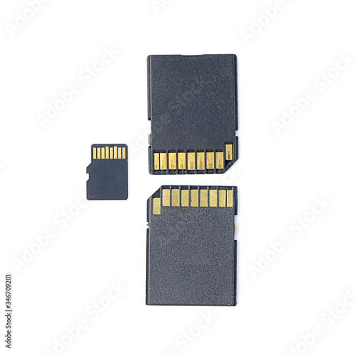 SD and micro sd memory card isolated on white background, for computer and camera storage, backup information Canvas Print