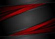 High contrast red and black glossy stripes. Abstract tech vector corporate background