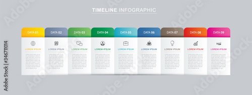 Fototapeta 9 data infographics tab paper index template. Vector illustration abstract background. Can be used for workflow layout, business step, banner, web design. obraz