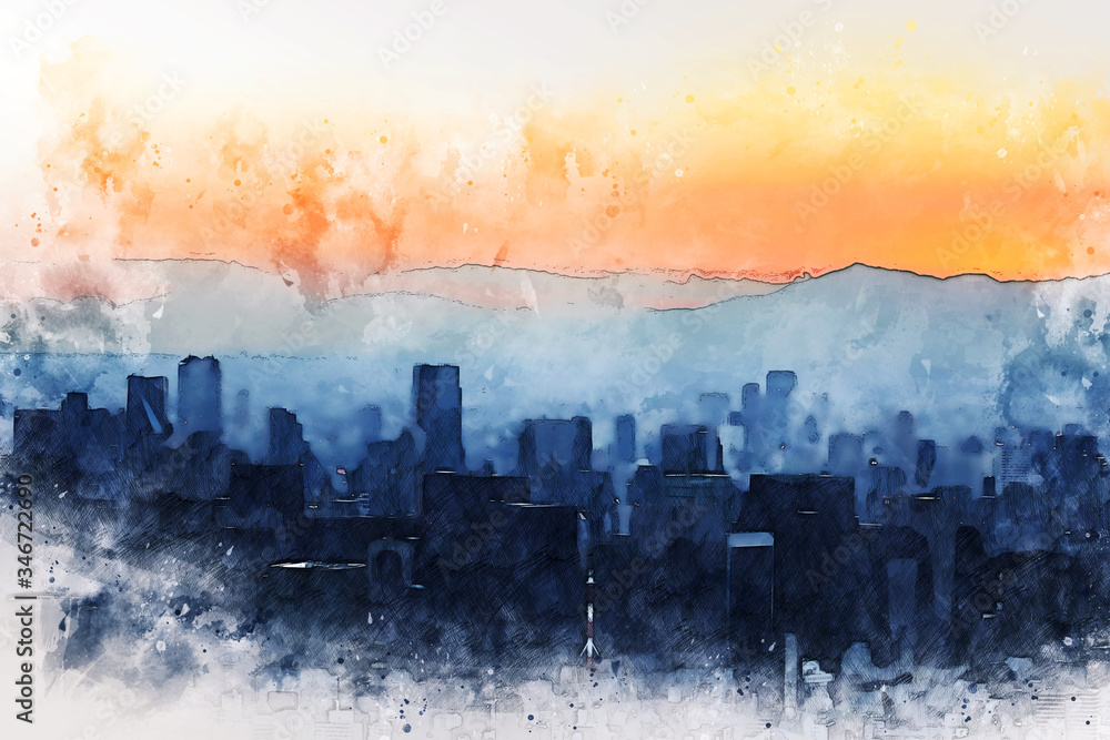 Abstract colorful office building in the city on watercolor illustration painting background.