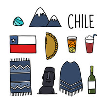 Chile. Chilean Theme Doodle Icons