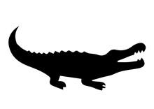 Crocodile Silhouette On White ...