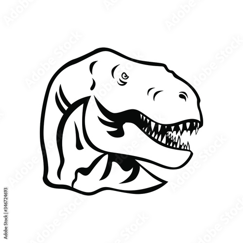 Photo Dino head logo vector mascot design
