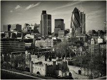 High Angle View Of 30 St Mary Axe With Cityscape Against Sky