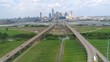 Downtown Drone Video Cityscape and Highways of Dallas Texas USA
