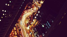 High Angle View Of Illuminated Light Trails On Road In City At Night