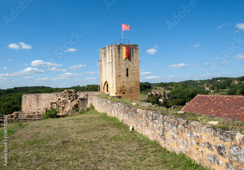 Ruins of the castle at Carlux in Dordogne valley, Aquitaine,  France Canvas Print