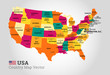 Detailed Map Of USA - Vector Illustration
