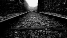 Railroad Tracks Amidst Walls
