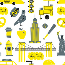 Seamless Vector Pattern With New York City Symbols
