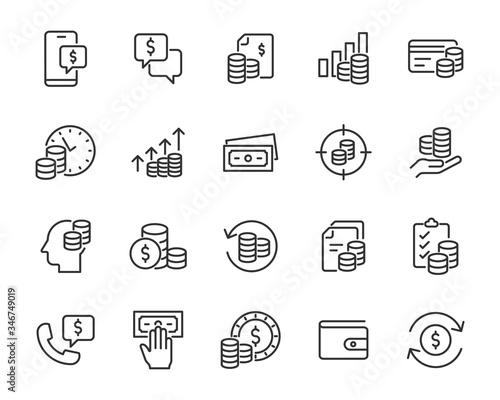 Fotografía set of money icons, finance, payment, currency