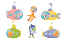 Cartoon Animals Swimming Under Water On Submarine And Wearing Diving Suit Vector Illustrations Set