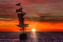 Antique Wooden Ship Leaving Th...