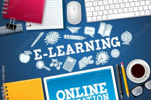 Fotografía E-learning online school vector banner