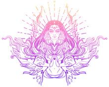 Asian Magic Woman With Sacred ...
