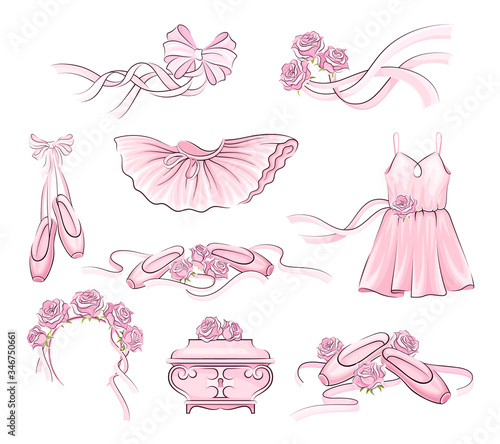 Canvastavla Ballet Accessories with Tutu Skirt and Pair of Pointe-shoes Vector Set