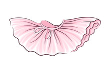 Pink Tutu Skirt With Corrugated Edges Vector Illustration