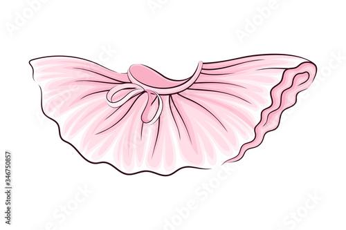 Obraz na plátně Pink Tutu Skirt with Corrugated Edges Vector Illustration