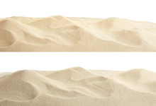Heaps Of Dry Beach Sand On Whi...