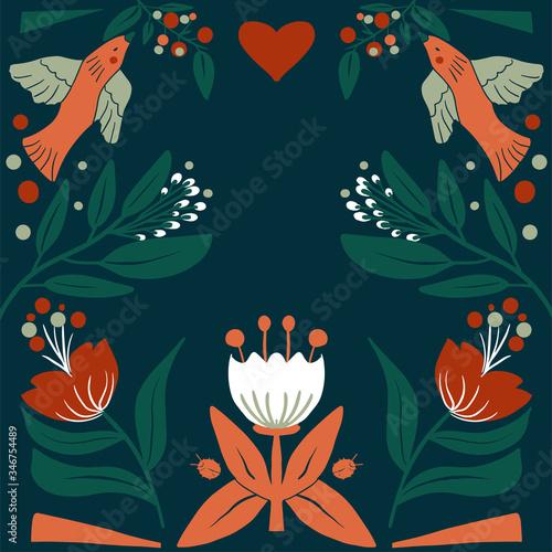 Floral Folk art  square pattern in modern style, Scandi vector illustration Wallpaper Mural