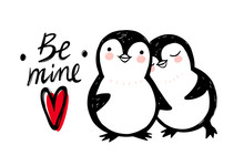 Hand Drawn Cute Penguin Isolat...
