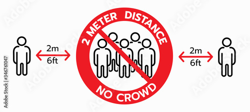 Photo Vector of No crowd sign, keep 2 meters distance,Social distancing concept