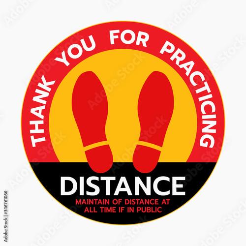 Fotografía Thanks For Practicing Social Distancing Floor sticker Sign