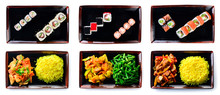 Set Japanese Sushi And Meat Wi...