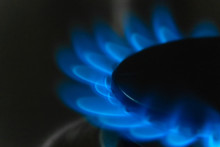 Blue Flame Of Burning Gas On A...