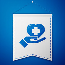 Blue Heart With A Cross Icon Isolated On Blue Background. First Aid. Healthcare, Medical And Pharmacy Sign. White Pennant Template. Vector Illustration