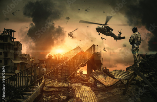 Fotografie, Obraz Military Helicopters & forces in destroyed city, houses and cars at Unfair war/A