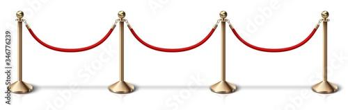 vector fence golden rope barrier with red velvet rope Wallpaper Mural
