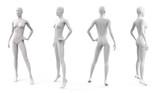 Biały plastikowy manekin damski na ubrania. Zestaw z boku, widok z przodu iz tyłu. Wyposażenie handlowe do witryn sklepowych. 3d ilustracja na białym tle.