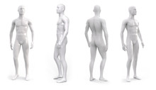 White Plastic Male Mannequin For Clothes. Set From The Side, Front And Back View. Commercial Equipment For Shop Windows. 3d Illustration Isolated On A White Background.