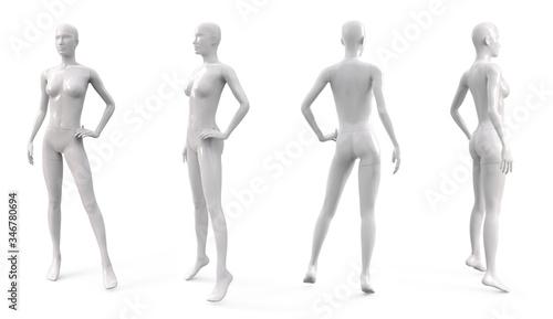 Photo White plastic female mannequin for clothes