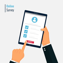 Survey Form Online Vector Illustration. Hand Holding And Fill Questionnaire On Tablet Screen. Quiz Form Idea, Interview Assessment, Passed Questionnaire, Isolated On Color Background.