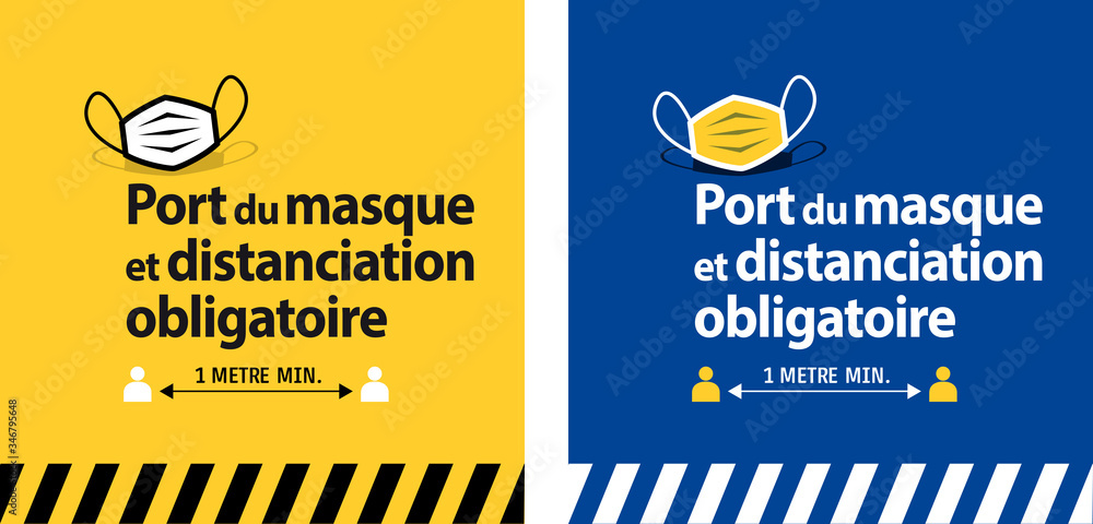 Fototapeta Port du masque et distanciation obligatoire