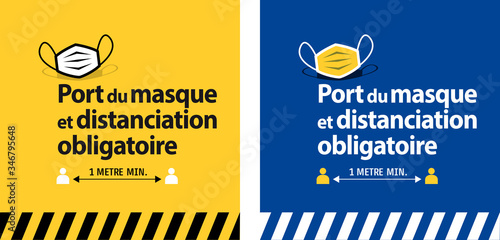 Port du masque et distanciation obligatoire - 346795648